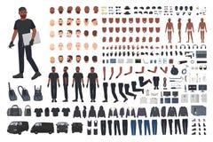 Złodzieja lub włamywacza konstruktora set Plik płaskie męskie postaci z kreskówki części ciałe, ręka gesty, wyrazy twarzy ilustracja wektor