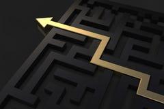 Złota ścieżka pokazuje sposób z labiryntu fotografia stock