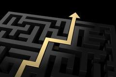 Złota ścieżka pokazuje sposób z labiryntu ilustracji