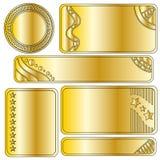 Złota świąteczna sztandaru lub guzika kolekcja Obrazy Royalty Free