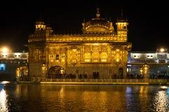 Złota świątynia przy nocą w Amritsar, Pundżab, India zdjęcie stock