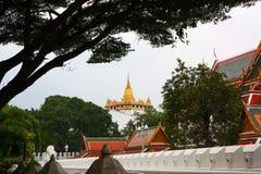 Złota żółta świątynia pięknie lokalizuje po środku scenerii i odległości w świetle dziennym obraz royalty free