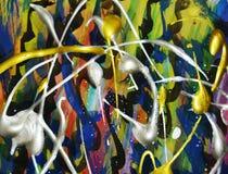 Złota błękita srebnych menchii purpurowi kolorowi pluśnięcia Akwareli farby abstrakta tło Obrazy Royalty Free
