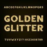 Złota błyskotliwości abecadła chrzcielnica Śmiałe list liczby, symbole i Zdjęcie Royalty Free
