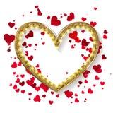 Złota błyskotliwości serca rama Fotografia Royalty Free
