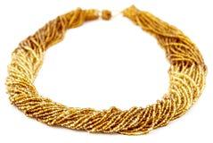 Złota Barwiony Multistrand Kręcony Z paciorkami Neckwear afrykanin, Tradycjonalnie Obraz Royalty Free