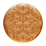 Złota biżuterii odznaka odizolowywająca na bielu Obrazy Royalty Free