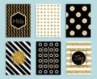 Złota, białego i czarnego prezent karty szablon z teksturą folia, royalty ilustracja