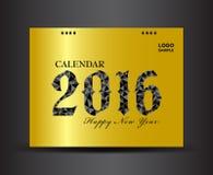 Złota biurka okładkowy kalendarz 2016 Zdjęcia Stock
