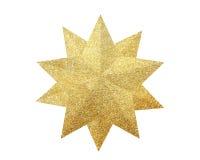 Złota boże narodzenie gwiazda odizolowywająca na bielu zdjęcie stock