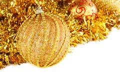 Złota Bożenarodzeniowa dekoracja Zdjęcie Stock