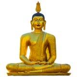 Złota Buddha statua odizolowywająca na bielu obraz royalty free