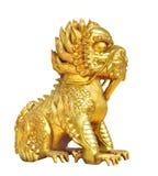 Złota Chińska lew postać odizolowywająca Obrazy Royalty Free