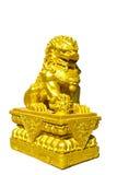 Złota Chińska lew statua Zdjęcie Royalty Free