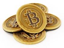 Złota crypto waluty moneta odizolowywająca na białym tle ilustracja 3 d Zdjęcie Stock