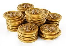 Złota crypto waluty moneta odizolowywająca na białym tle ilustracja 3 d Fotografia Stock