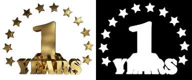 Złota cyfra jeden i słowo rok, dekorujący z gwiazdami ilustracja 3 d Obraz Royalty Free
