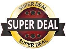 Złota czerwona super dylowa sprzedaży odznaka z gwiazdami Zdjęcie Royalty Free