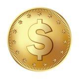 Złota dolar moneta, pieniądze obraz stock