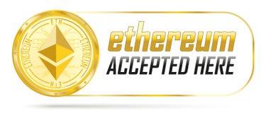 Złota Ethereum moneta Akceptująca Tutaj ilustracja wektor