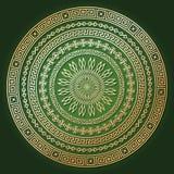 Złota etniczna round tekstura z cieniem na ciemnozielonym ilustracja wektor