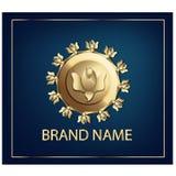 Złota foka z różami Etykietka dla kosmetycznego przemysłu Obraz Royalty Free