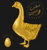 Złota gąska, gąska na czarnym tle ilustracja wektor