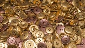 Złota, groszaka & brązu guziki, Fotografia Stock