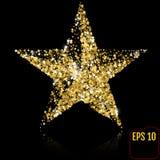 Złota gwiazda na czarnym tle również zwrócić corel ilustracji wektora Zdjęcia Stock