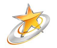 Złota gwiazda z kółkowymi orbitami Zdjęcie Royalty Free