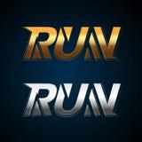 Złota i srebra bieg tłuc logo szablon, koszulka projekt Bawi się logotypu szablon, klub sportowy, biega klubu ilustracji