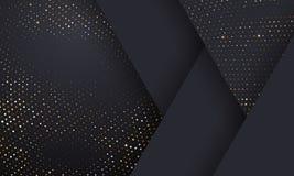 Złota i srebra halftone wzoru geometryczny czarny tło Wektorowa złota błyskotliwość kropkująca błyska lub halftone połysk tekstur ilustracja wektor