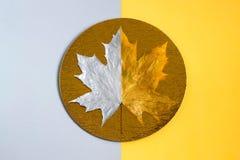 Złota i srebra liść klonowy na złocistej folii okręgu Obraz Royalty Free
