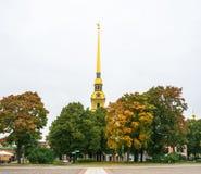 Złota iglica Peter i Paul forteca 29 Wrzesień 201 Obrazy Stock