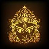 Złota ilustracja bogini Durga dla Indiańskiego festiwalu royalty ilustracja