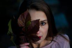 Złota jesień Piękna młoda piękna dziewczyna z liściem na rachunku Atrakcyjny spojrzenie fotografia royalty free