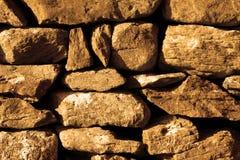 Złota Kamiennej ściany ogrodzenia tła tekstura Zdjęcia Royalty Free