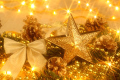 Złota Kartka bożonarodzeniowa Zdjęcie Royalty Free