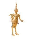 Złota Kinnari statua przy świątynią, Wat Phra Kaew w Uroczystym pałac zdjęcia stock
