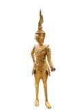 Złota Kinnari statua przy świątynią, Wat Phra Kaew w Uroczystym pałac zdjęcie stock