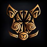 Złota knur głowa odizolowywająca na czarnym tle Stylizowany Maoryjski twarz tatuaż ilustracja wektor