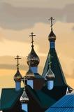 Złota kopuła kościół chrześcijański przy zmierzchem Fotografia Royalty Free