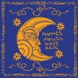 Złota księżyc twarzy ilustracja Fotografia Stock