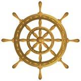 Złota kula ziemska kompasu kotwicy windrose kierownica fotografia stock