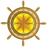 Złota kula ziemska kompasu kotwicy windrose kierownica obrazy royalty free