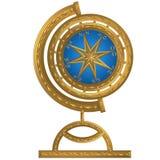 Złota kula ziemska kompasu kotwicy windrose kierownica zdjęcie royalty free