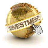 Złota kula ziemska z inwestorskim tekstem Zdjęcie Royalty Free