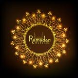 Złota kwiecista rama dla świętego miesiąca, Ramadan Kareem świętowanie Zdjęcie Stock