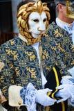 Złota lew maska, Wenecja, Włochy, Europa Zdjęcia Stock