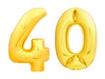 Złota liczba 40 czterdzieści zrobił nadmuchiwany balon fotografia stock